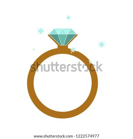 golden with diamond wedding engagement ring icon - crystal jewelery illustration isolated.