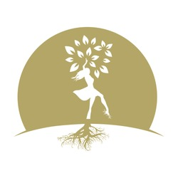 golden woman with tree leaves and roots, vector logo icon