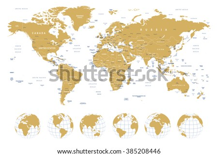Golden World Map - borders, countries, cities and globes - illustration\ Highly detailed vector illustration of world map:\ - land contours\ - country and land names\ - city names\ - water object names