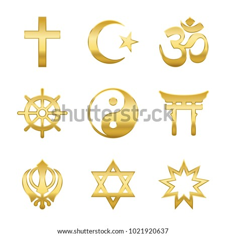 Golden world religion symbols. Signs of major religious groups and religions. Christianity, Islam, Hinduism, Buddhism, Taoism, Shinto, Sikhism and Judaism- isolated vector illustration. - Shutterstock ID 1021920637