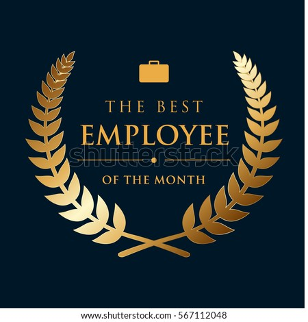 golden wreath badge - the best employee of the month