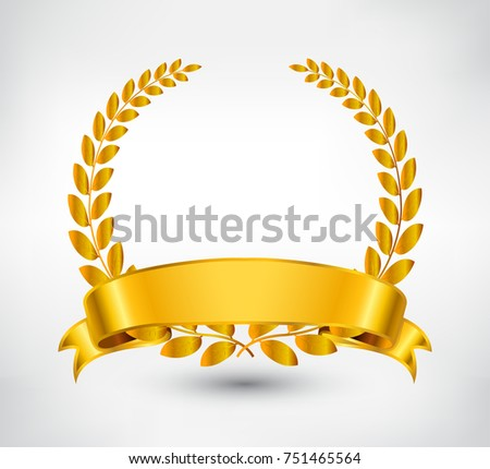 Golden wreath with ribbon.Vector laurel wreath.