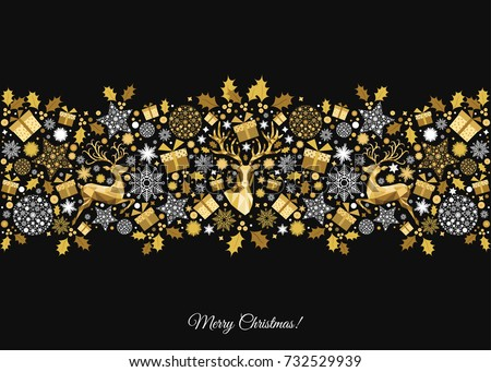 golden xmas tree decoration on black background happy new year and christmas pattern gold