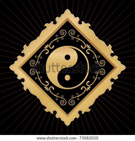 golden ying yang in ornate frame