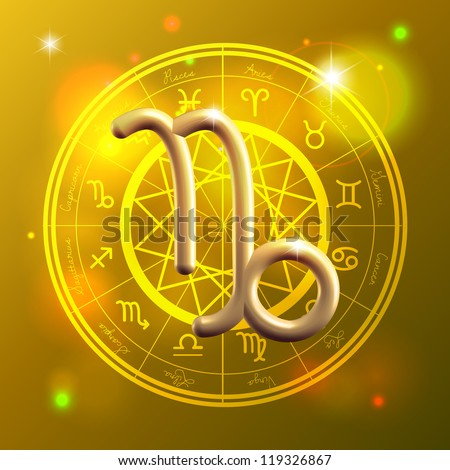 Golden Zodiac decorative vector background