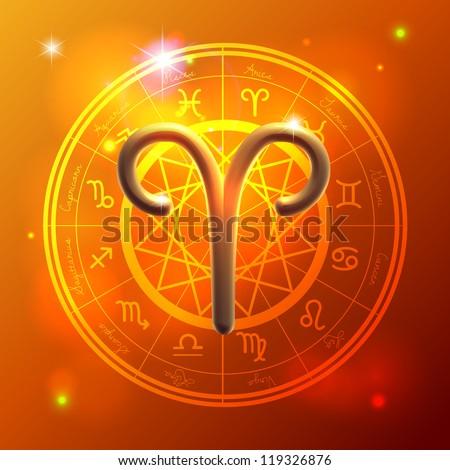 Golden Zodiac decorative vector background stock photo