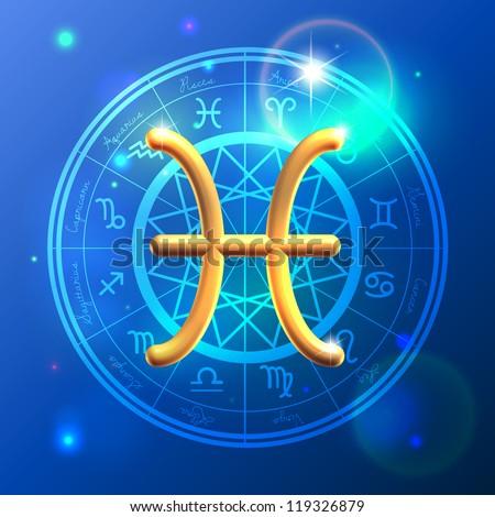 Golden Zodiac decorative vector background - stock vector