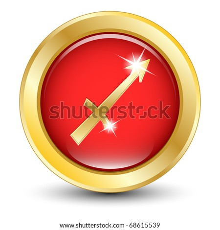 Golden zodiac sign Sagittarius. Vector stock photo