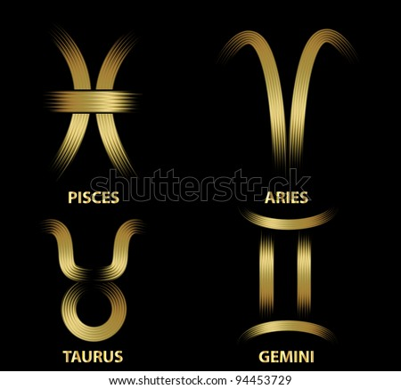Golden zodiac signs.