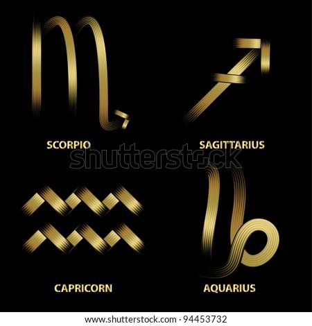 Golden zodiac signs.