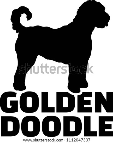 Goldendoodle silhouette real word in black