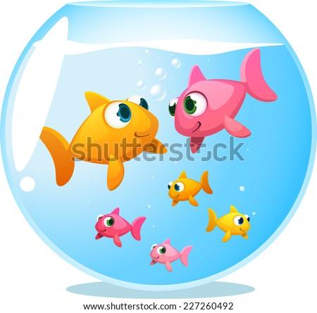 goldfish happy family  with