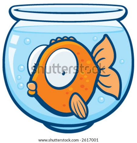 Goldfish in a bowl - stock vector