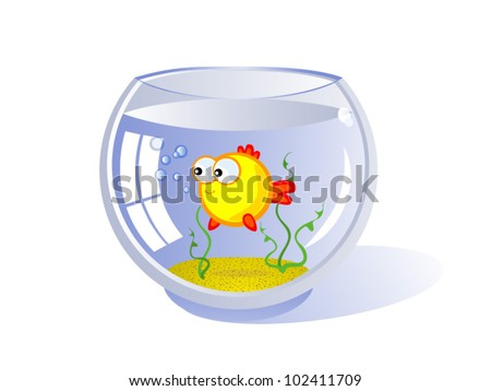 Goldfish in an aquarium. Vector cartoon drawing. Humor. Isolated.