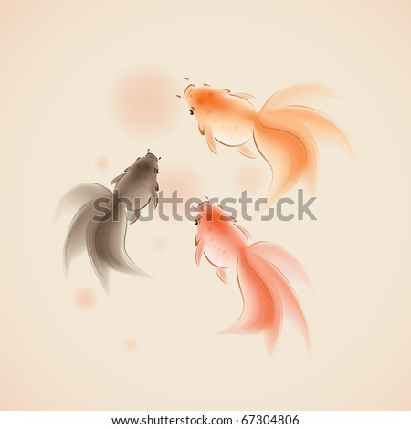 goldfish in oriental style painting, symbolize wealth and harmony.