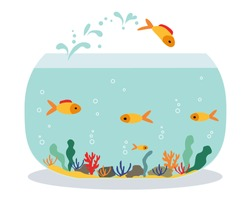 Goldfish jumping out one fishbowl. Aquarium with swimming gold exotic fish. Underwater aquarium habitat with sea plants. Flat vector drawn illustration, isolated objects.