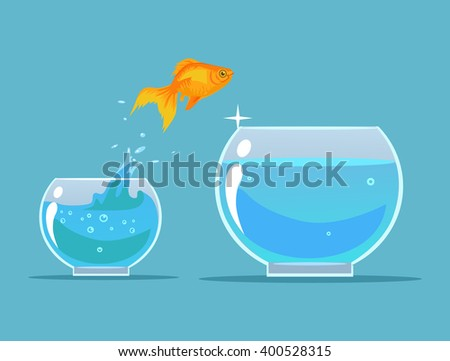 goldfish making leap vector