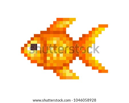 Goldfish, pixel art symbol isolated on white background. Pet animal.Popular aquarium fish. Chinese symbol of wealth and good luck. Old school 8 bit slot machine icon.Retro 80s; 90s video game graphics