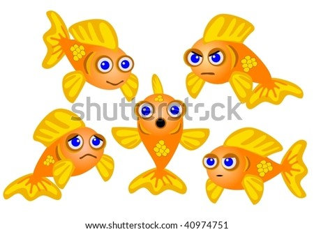 evil goldfish cartoon. Goldfish Set, Cartoon