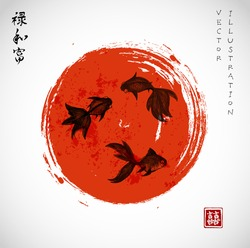 Goldfishes and red sun. Symbols of luck and happiness. Contains hieroglyphs
