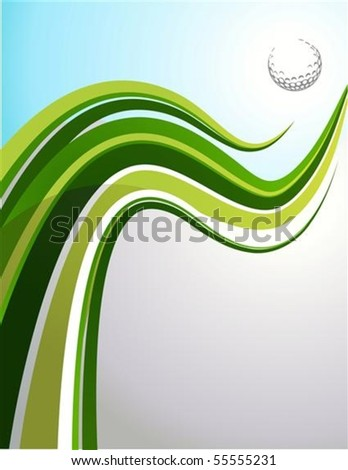 Golf background with green wave and a ball