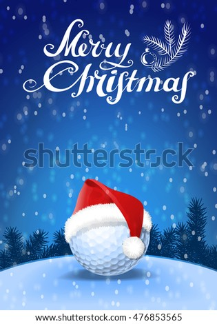 golf ball and santa red hat on