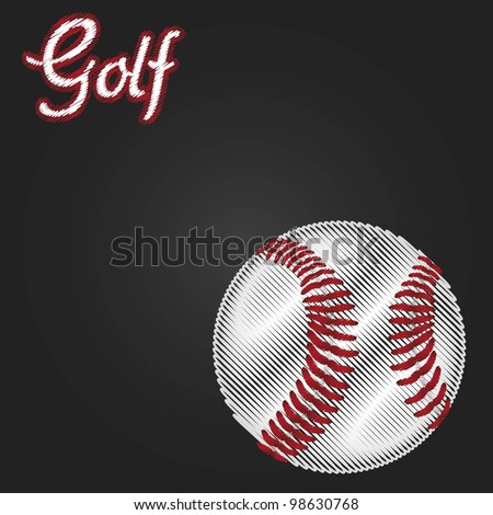 golf ball drawing on black gradient background