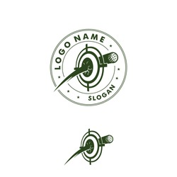 Golf ball hit with right on target board logo vector. Icon illustration for golfer club & community design, sport and hobby activity, that focus on professional golf training. Shoot on target exercise