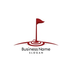 Golf ball in right on target hole logo vector. With flag on target board in the field. Icon illustration for golfer club & community design, sport & hobby activity, focus on professional golf training