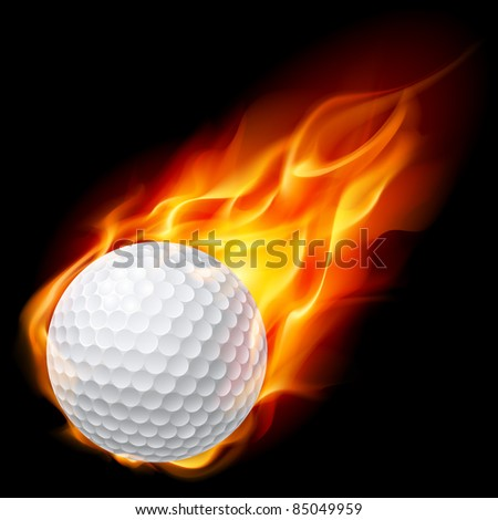 Golf ball on fire. Illustration on black background