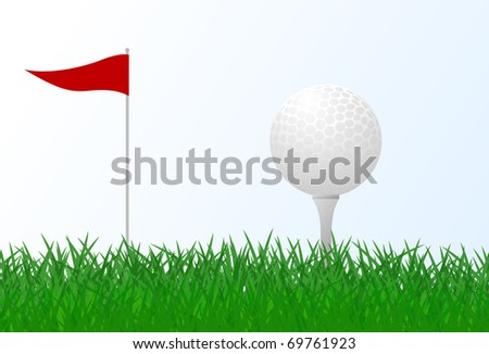 golf ball vector. stock vector : Golf ball on green grass