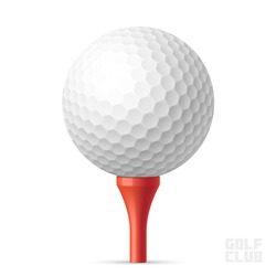 Golf ball on red tee. Vector illustration.