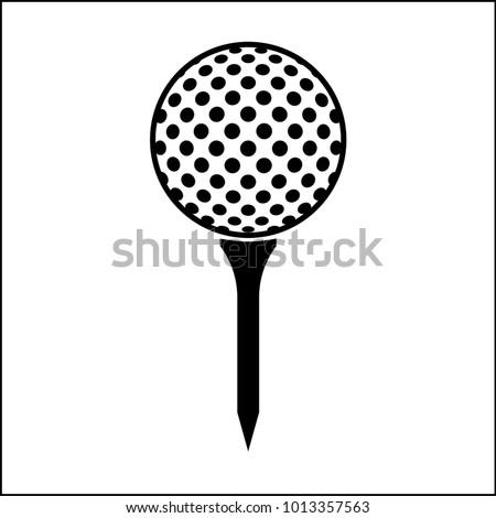 Golf Ball On Tee Icon Vector Art Illustration