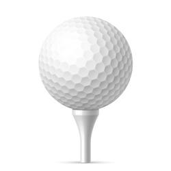 Golf ball on white tee. Vector illustration.