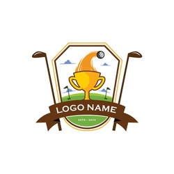 Golf ball trophy logo vector for sport and recreation competition. Icon for golf cup & league of tournament design illustration. Apply to web site, social media, sticker, emblem, game or match show