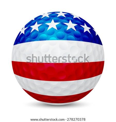 golf ball with flag of usa
