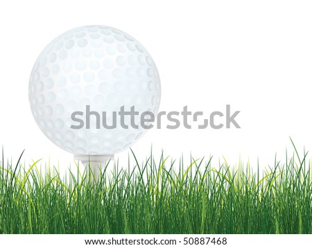 Golf Ball with Grass isolated on white background. Vector.