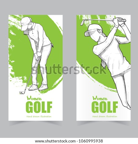 golf banner set whit illustration of woman golfer drawing vector style