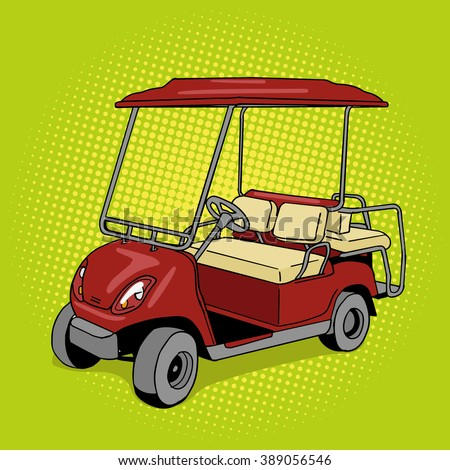 Golf cart pop art style vector illustration. Hand drawn doodle.  Comic book style imitation. Vintage retro style. Conceptual illustration