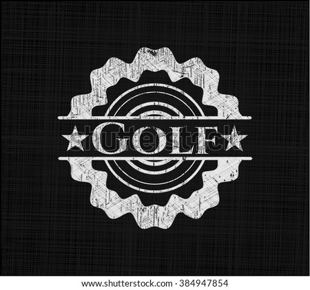 Golf chalkboard emblem written on a blackboard