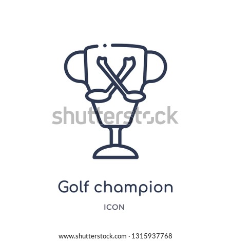 golf champion icon from sports and competition outline collection. Thin line golf champion icon isolated on white background.