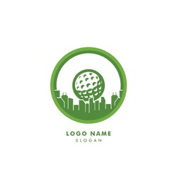 Golf city logo vector. With golf ball silhouette illustration. Icon for golfer club & community favorite spot design, sport & hobby activity, focus on professional golf training