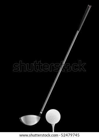 Golf club and ball on black background - stock vector