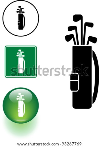 golf clubs bag symbol sign and button