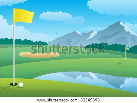 Golf Course: A golf course landscape. No transparency used. Basic (linear) gradients. A4 proportions.