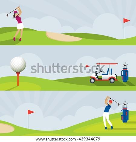 Golf Course Banner, Men and Women Swing, Cart