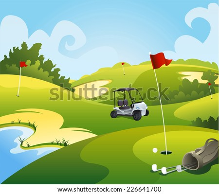 Golf course beautiful landscape illustration.