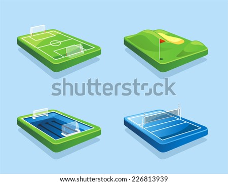 Golf course Football field Water polo field Volleyball field vector illustration cartoon