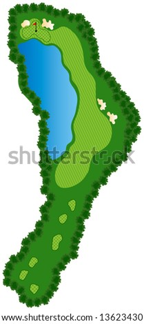 Golf Course Hole with bunkers and water