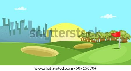 Golf Course Horizontal Banner Concept Cartoon Illustration Of Vector For Web